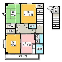 ハイステージISAHO B[2階]の間取り