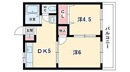 大阪府豊中市南桜塚4丁目の賃貸アパートの間取り