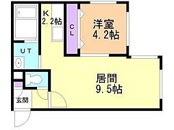 仮)南14西6MS 3階1LDKの間取り