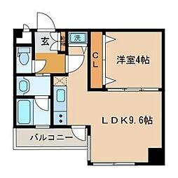 リッツ中央[4階]の間取り