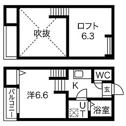 アルバーノ柴田Ferio[2階]の間取り