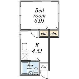 KHアパート[1F号室]の間取り
