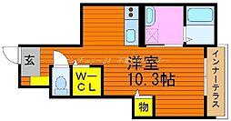 岡山県岡山市中区中島の賃貸アパートの間取り