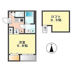 愛知県名古屋市中村区名楽町2丁目の賃貸アパートの間取り