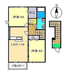 ラ・フレスクーラ Ⅱ[2階]の間取り