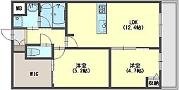 シティレジデンス二上 2階2SLDKの間取り