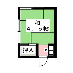青葉荘 2階ワンルームの間取り