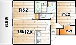 ウィング富久 B棟[1階]の間取り