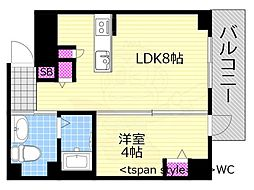 Osaka Metro千日前線 西長堀駅 徒歩4分の賃貸マンション 4階1LDKの間取り