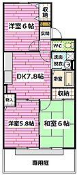 広島県広島市安佐南区安東3丁目の賃貸アパートの間取り