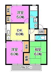 埼玉県所沢市東所沢3丁目の賃貸アパートの間取り