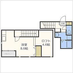 福岡市地下鉄空港線 唐人町駅 徒歩9分の賃貸アパート 2階1Kの間取り