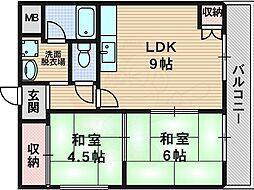 西口マンション 3階2LDKの間取り