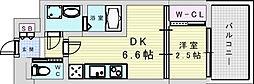 阪急宝塚本線 三国駅 徒歩5分の賃貸マンション 2階1DKの間取り