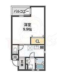 近鉄南大阪線 針中野駅 徒歩9分の賃貸アパート 2階1Kの間取り