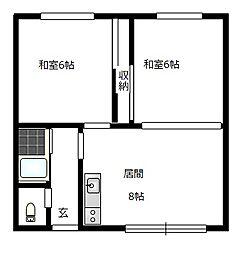 北海道札幌市南区石山二条6丁目の賃貸アパートの間取り