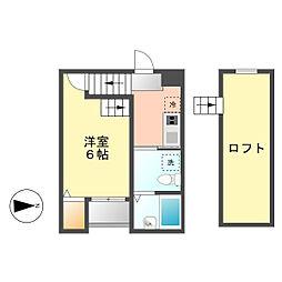 エステート亀島[202号室]の間取り