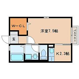 JR東海道本線 草薙駅 徒歩2分の賃貸アパート 1階1Kの間取り
