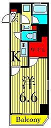 東京メトロ日比谷線 三ノ輪駅 徒歩6分の賃貸マンション 11階1Kの間取り