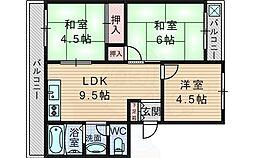 コーポ緑地 3階3LDKの間取り