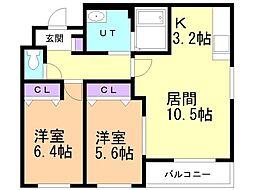 ラ シャルマ 2階2LDKの間取り