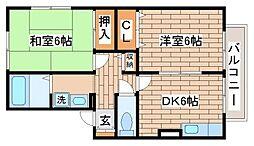 兵庫県神戸市須磨区大手町6丁目の賃貸アパートの間取り