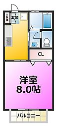 第六ハイツヤマヤ[2階]の間取り