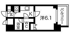 Osaka Metro堺筋線 堺筋本町駅 徒歩3分の賃貸マンション 2階1Kの間取り