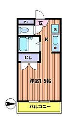東京都日野市多摩平6丁目の賃貸アパートの間取り