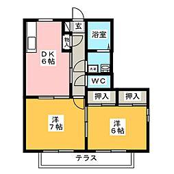 バリュージュ木村[1階]の間取り