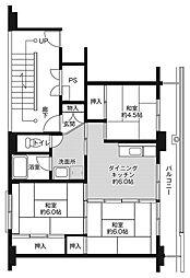 ビレッジハウス小名浜2号棟 1階3DKの間取り