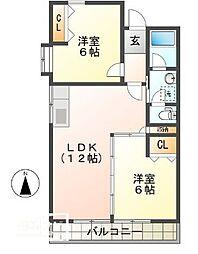 コーポマルベリ北新田[307号室]の間取り