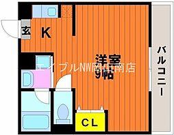 第6アルバマンション 1階ワンルームの間取り