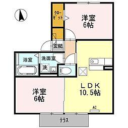 愛知県西尾市住崎1丁目の賃貸アパートの間取り