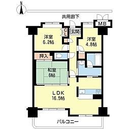 メゾンドール瀬田公園都市1番館[12階]の間取り