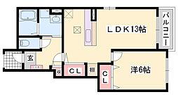 JR姫新線 本竜野駅 徒歩10分の賃貸アパート 1階1LDKの間取り