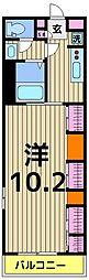 東武伊勢崎線 竹ノ塚駅 徒歩15分の賃貸マンション 3階1Kの間取り