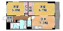 JR東海道・山陽本線 摩耶駅 徒歩5分の賃貸マンション 1階2DKの間取り