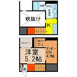 愛知県名古屋市中川区荒中町の賃貸アパートの間取り