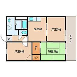 奈良県橿原市雲梯町の賃貸アパートの間取り