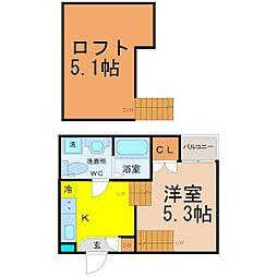 名古屋市営東山線 新栄町駅 徒歩7分の賃貸アパート 1階1SKの間取り