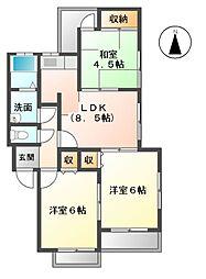 愛知県名古屋市天白区野並3丁目の賃貸マンションの間取り