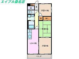 三重県桑名市大字江場の賃貸マンションの間取り