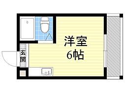 ジオナ柴島2 1階ワンルームの間取り