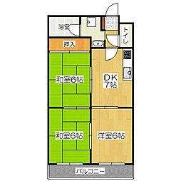 ロイヤルコーポ[6階]の間取り