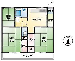 ビレッジハウス新開2号棟[1階]の間取り