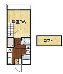 ガーデン恵比須C[1階]の間取り