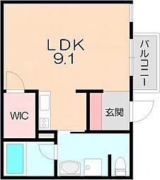 阪急宝塚本線 池田駅 徒歩8分の賃貸マンション 2階ワンルームの間取り