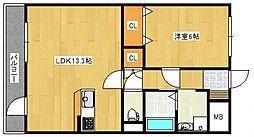 ドゥブラン上津[1階]の間取り