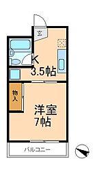 千葉県松戸市日暮6丁目の賃貸マンションの間取り